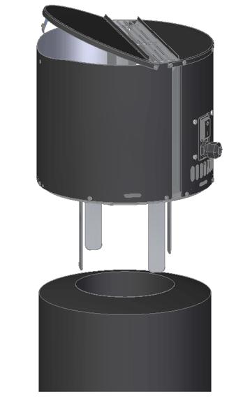 Draftbooster v černém přovedení nainstalovaný na komíně.